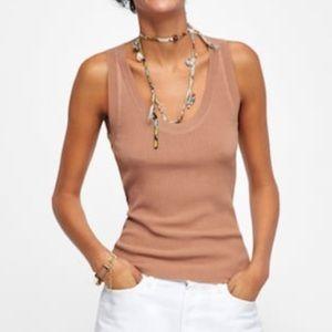 Zara knit camel tank L